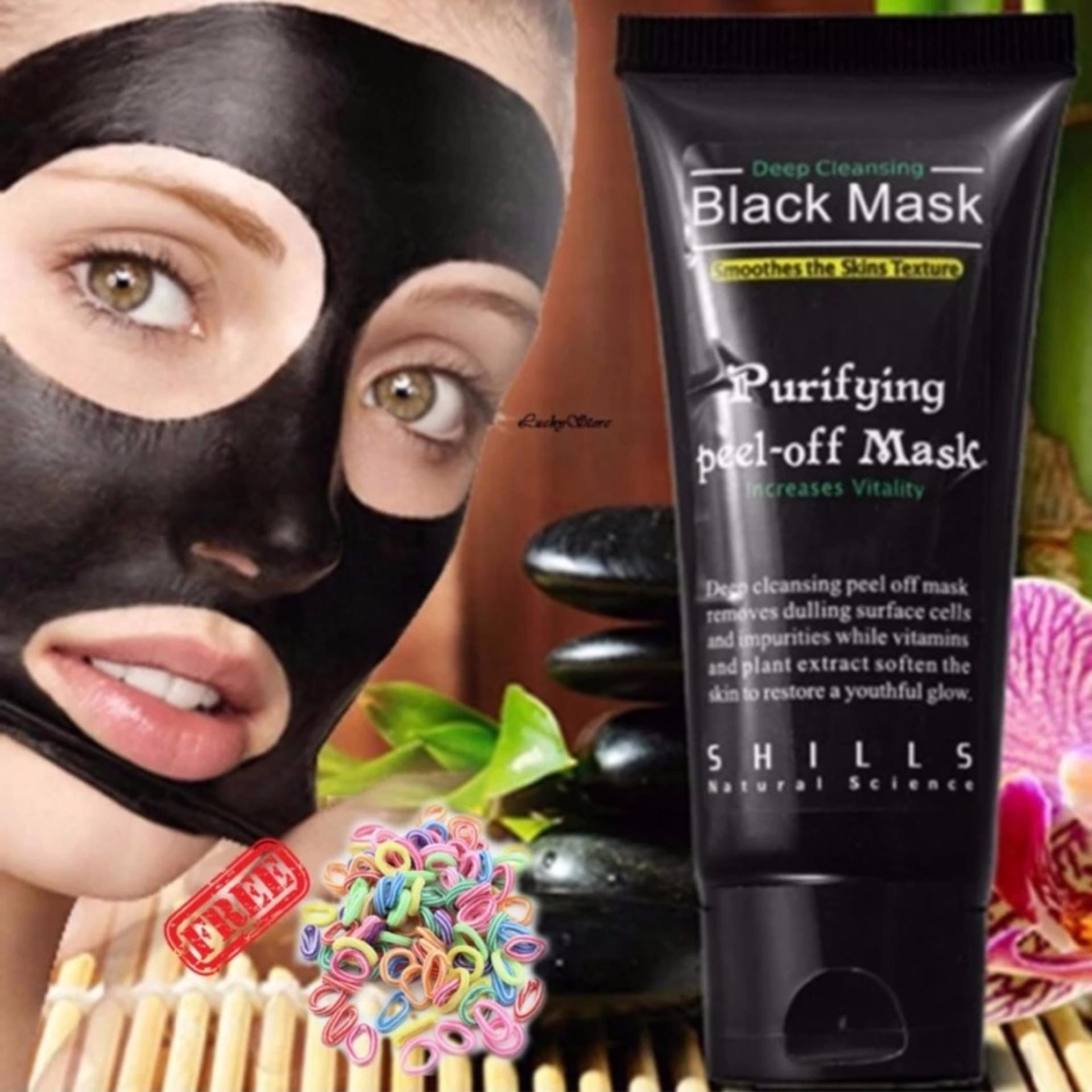 Promo Black Mask Deep Cleansing Purifying Peel Off Mask Masker Pembersih Komedo 1Pcs Free Ikat Rambut 1 Pcs Black
