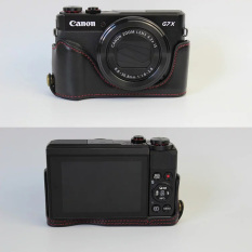 Hitam Baru Setengah Set Penutup PU Kulit Case For Canon PowerShot G7X Mark 2 G7X II G7X2 Keras Setengah Body Casing Kamera Case (International)