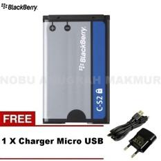 Blackberry Baterai C-S2 For BB 8300 8520 9300 9330 - Curve Gemini Original Baterai + Free Charger Micro USB- Black