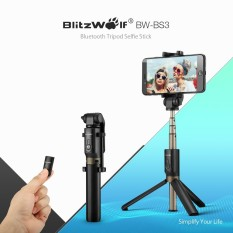 BlitzWolf BW-BS3 3 In 1 Bluetooth Mini Folding Tripod Selfie Stick Black-Intl