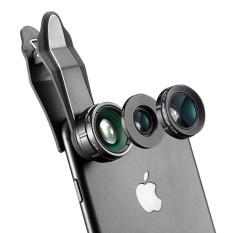 BlitzWolf BW-LS1 3 In 1 Lensa Kamera 230 ° Fisheye Lens 0.63X Wide Angle Lens 15X Macro Len dengan Klip Hitam-Intl