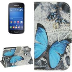 Blue Butterfly Pattern Horizontal Flip Magnetic Buckle Leather Case with Card Slots & Wallet & Holder for Samsung Galaxy Trend Lite / S7390 - intl
