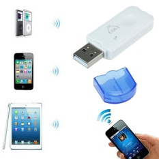 Blue Wireless USB Bluetooth Audio Musik Receiver ADAPTER untuk IPhone 4 5-Intl