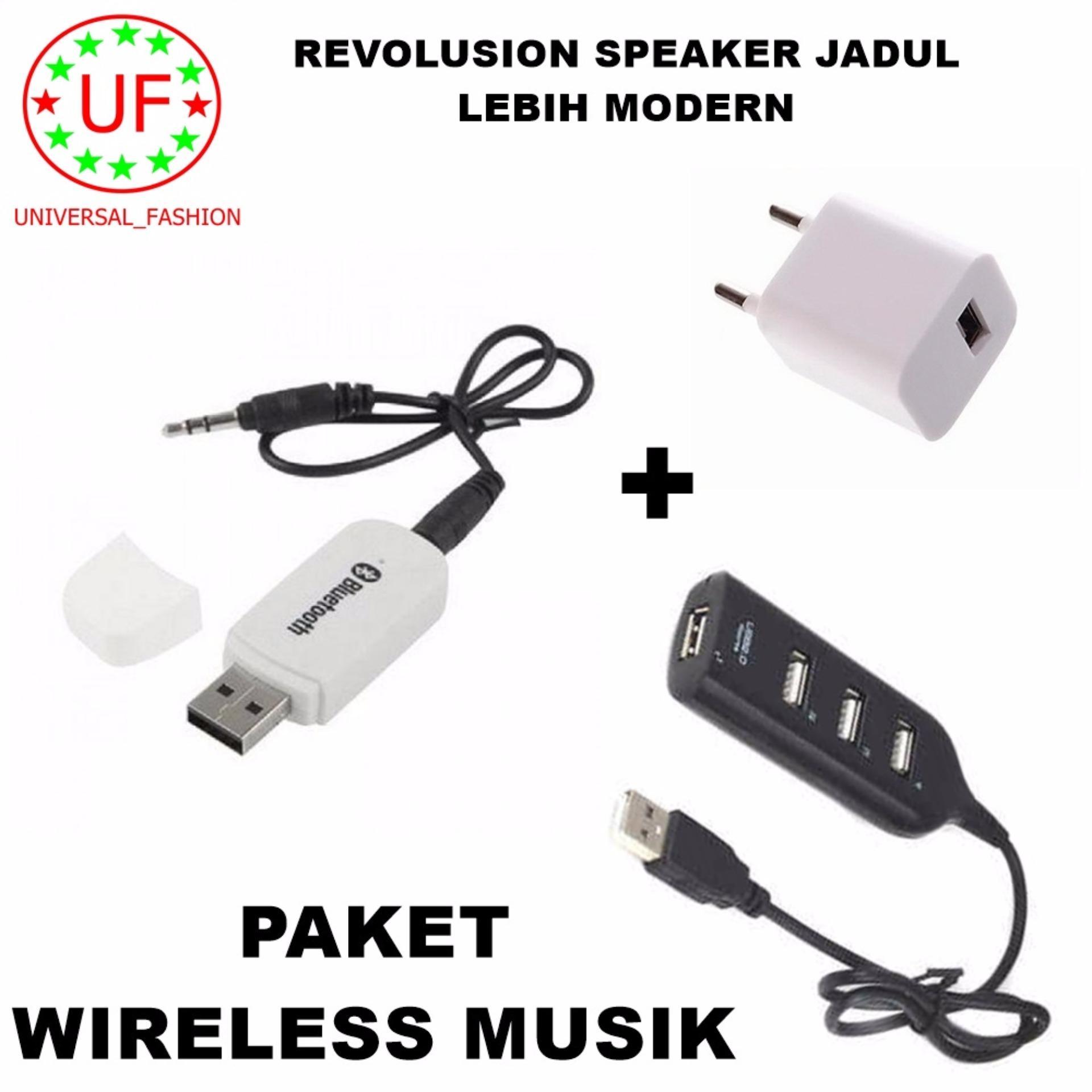 Pencari Harga Bluetooth Audio Receiver Wireless Musik - Putih + Adapter Charger + Kabel USB Hub 4 Port terbaik murah - Hanya Rp54.150