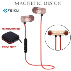 Bluetooth Headphone, EarTime Nirkabel V4.1 Earphone Telinga Magnetik In-Ear Olahraga Sweatproof Earbud dengan Mic-Intl