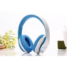 Bluetooth Headphone Nirkabel Stereo Suara Musik Headset dengan MIC Mendukung TF Kartu FM Radio Earphone untuk Smartphone Tablet (Bule)