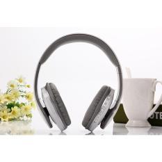 Bluetooth Headphone Nirkabel Stereo Suara Musik Headset dengan MIC Mendukung TF Kartu FM Radio Earphone untuk Smartphone Tablet (grey)