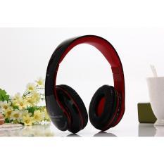 Bluetooth Headphone Nirkabel Stereo Suara Musik Headset dengan MIC Mendukung TF Kartu FM Radio Earphone untuk Smartphone Tablet (merah)