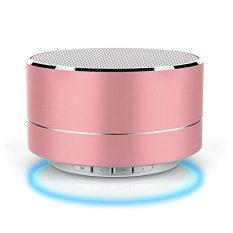 Bluetooth Speaker dengan Subwoofer B19 Mini Bentuk Bulat Speaker Nirkabel Lampu LED Kualitas Suara Hi-fi Portabel TF/Bluetooth /AUX TV, DJ, Mobil Indoor Outdoor (Rose Gold)-Intl