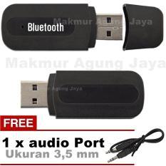 Bluetooth USB Audio Music Receiver + Free Audio Jack 3.5mm Stereo - Warna Acak