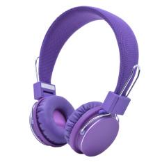 Nirkabel Bluetooth Headphone dengan Mikrofon (Ungu)