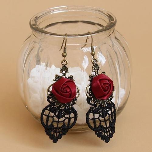 Bodhi 1 Pair Vintage Gothic Vampire Halloween Black Lace Bunga Merah Dangle Earrings-Intl By