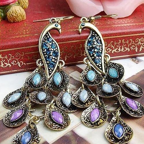 Bodhi 1 Pair Wanita Vintage Bohemian Style Peacock Drop Hook Earrings Perhiasan-Intl By Bodhi