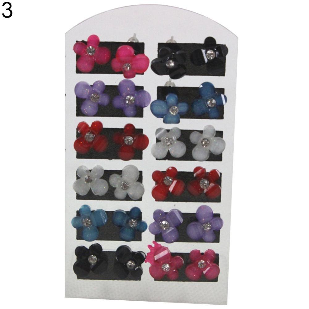 BODHI 12 Pasang Women Fashion Rhinestone Resin Tajam Lima Kelopak Iris Stud Earrings-Intl