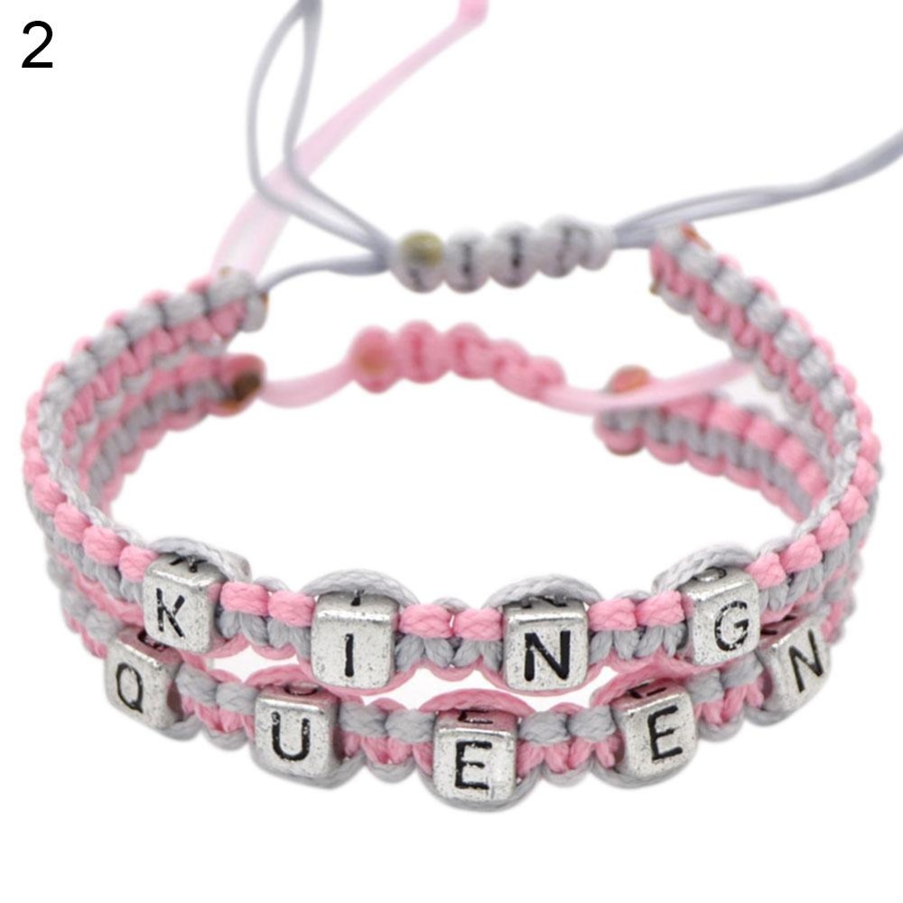 BODHI 2 Pcs Fashion King Queen Pecinta Dikepang Bangle Gelang Perhiasan Charm Hadiah (Grey + Pink)-Intl