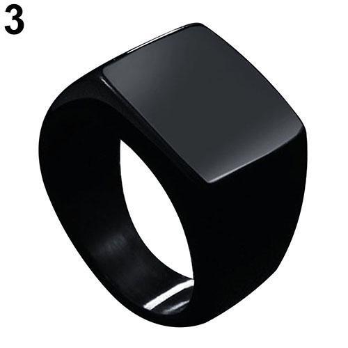 BODHI Fashion Pria Stainless Steel Punk Cincin Pernikahan Persegi Polos Fesyen Pria A.s. 11 (Hitam)-Intl