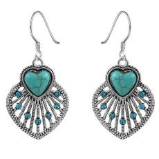 BODHI Women Bohemia Berongga Daun Turquoise Laporan Menjuntai Menghubungkan Anting-Anting Perhiasan-Intl