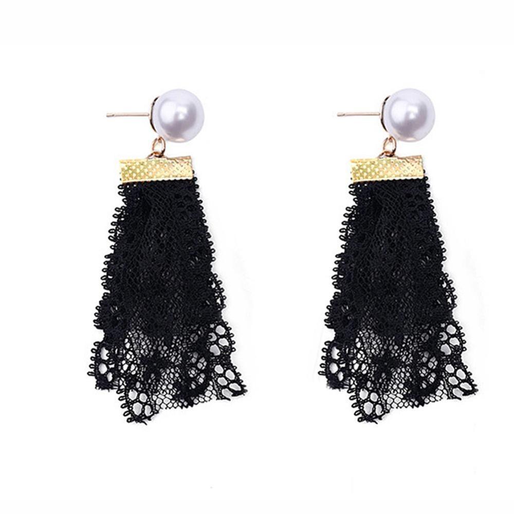 Bodhi Women Chic Fashion Hitam Liontin Renda Mutiara Imitasi Anting Telinga Anting Bulat Perhiasan (Hitam