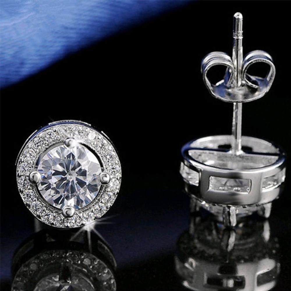 BODHI Women Round Shiny Giwang Telinga Kubik Zircon Pernikahan Fashion Earrings Perhiasan-Intl