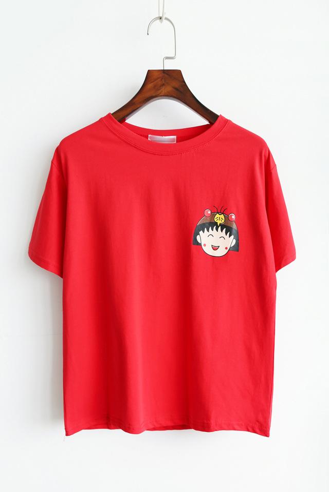 Katalog Chibi Maruko Chan Lengan Pendek Wanita T Shirt Merah Baju Wanita Baju Atasan Kemeja Wanita Oem Terbaru