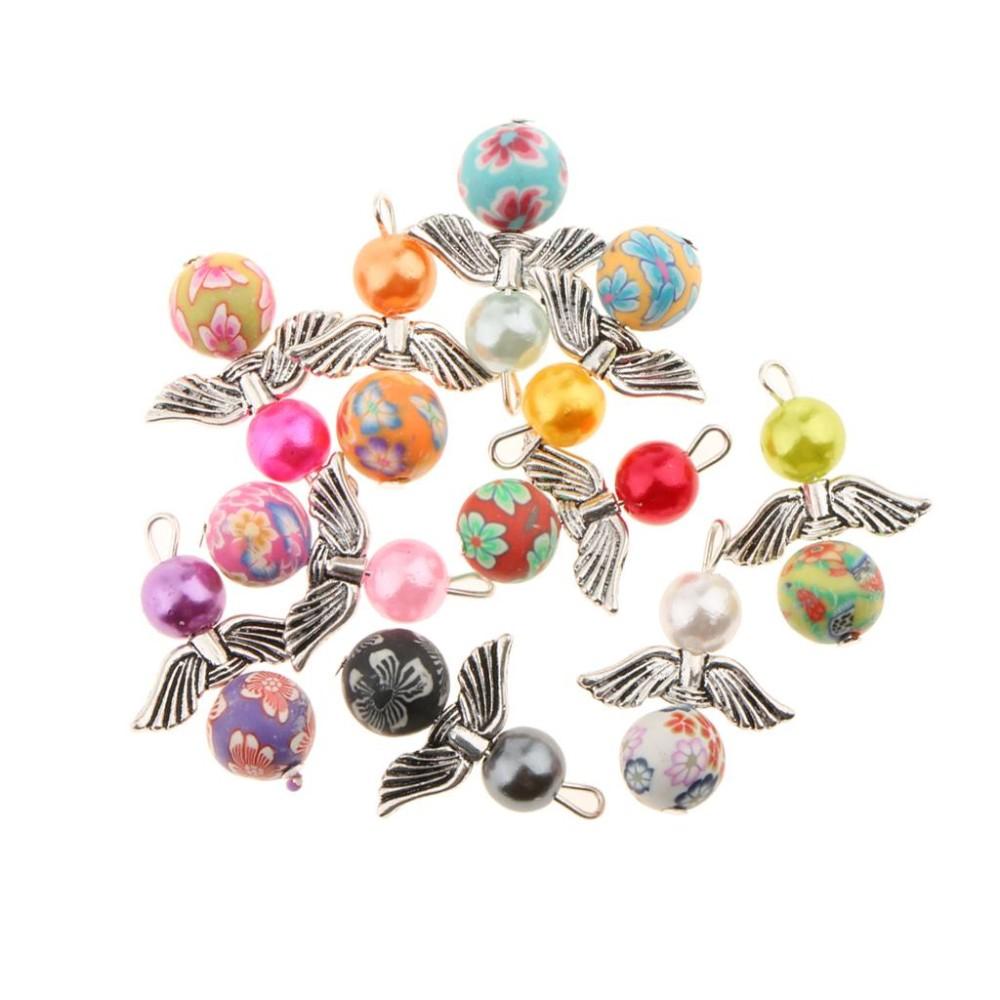 BolehDeals 10 Pcs Guardian Angel Wings Drop/Heart Liontin Charms Beads Antique Silver Sayap Bekas Kalung Gelang Perhiasan Membuat Kerajinan Tangan-Internasional