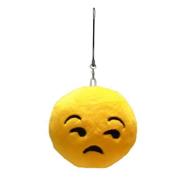 BolehDeals Bulat Boneka Mewah Emoji Pesona Gantungan Kunci Tali Menyipitkan Mata-Intl