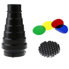 Jual Bolehdeals Conical Snoot Dengan Honeycomb Grid Dan Warna Gel Filter Kit Untuk Fotografi Intl Bolehdeals Ori