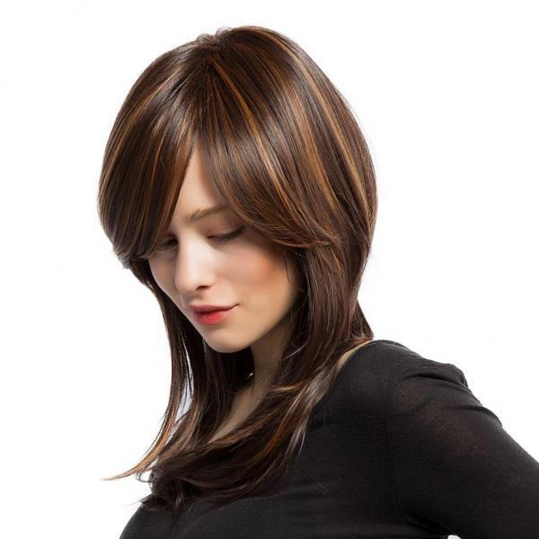 BolehDeals Wanita Mix Color Synthetic Wig Medium Length Straight Sorot Cosplay Wig-Intl