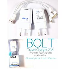 Iklan Bolt Travel Charger 2 1A 5V Fast Charging 3 In 1 Cable Putih