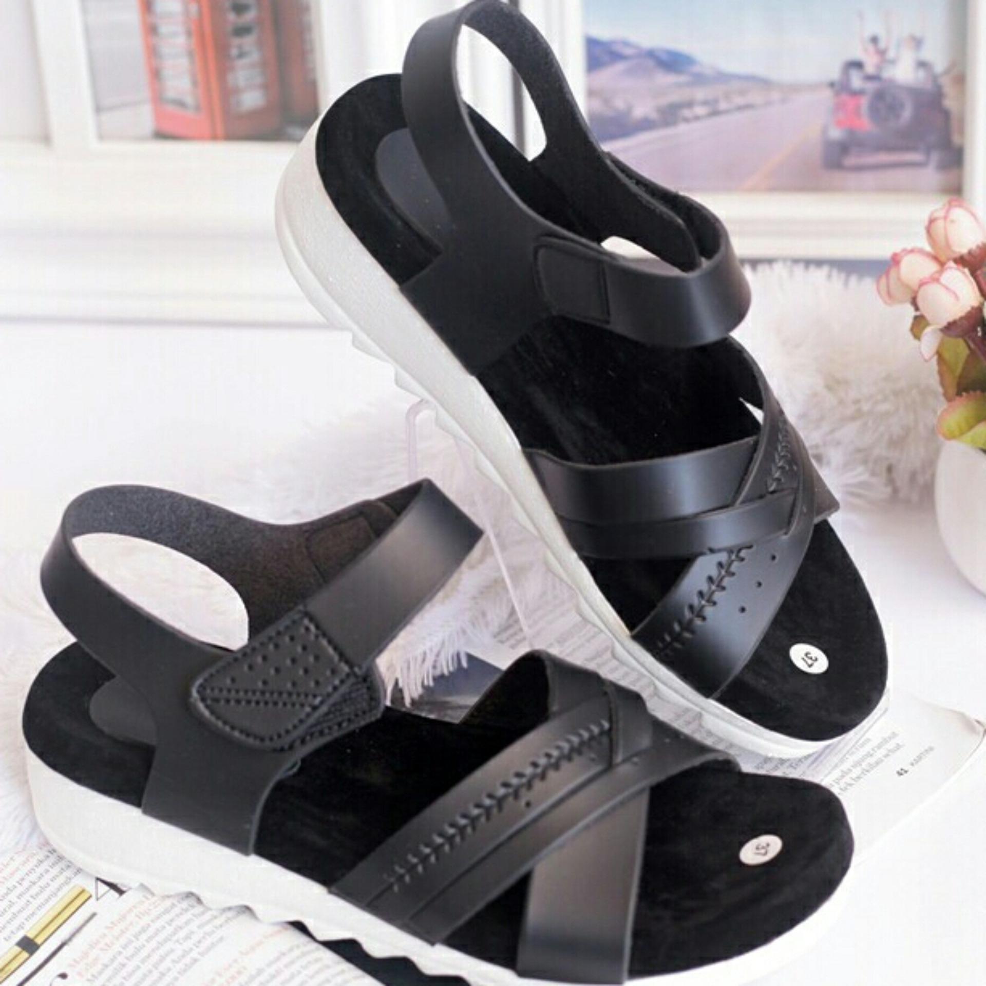 Bondshop - New Sandal Wanita Wedges Cream ( Sepatu / Sendal Cewek )