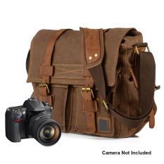 Review Toko Boshiho Kanvas Kulit Sapi Dslr Slr Kamera Vintage Tas Messenger Bahu Dengan Waterproof Tahan Guncangan Menyisipkan Case Perlindungan Untuk Sony Canon Nikon Olympus Kopi