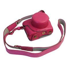 Bottom Opening Version Protective PU Leather Half Camera Case Bag Cover dengan Desain Tripod untuk Nikon J5 Kamera dengan PU Strap Kulit (Merah) -Intl