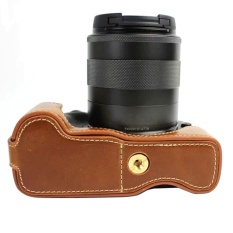 Bottom Opening Version Protective PU Leather Half Camera Case Bag Cover dengan Desain Tripod untuk Canon EOS M3 EOSM3- INTL
