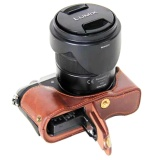 Ulasan Bottom Opening Version Protective Pu Leather Half Camera Case Bag Cover Dengan Desain Tripod Untuk Panasonic Lumix G Dmc Gx85 Kamera Intl