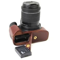 Bottom Opening Version Protective PU Leather Half Camera CaseBagCover dengan Desain Tripod untuk Canon EOS 1300D Kamera (Kopi) -Intl