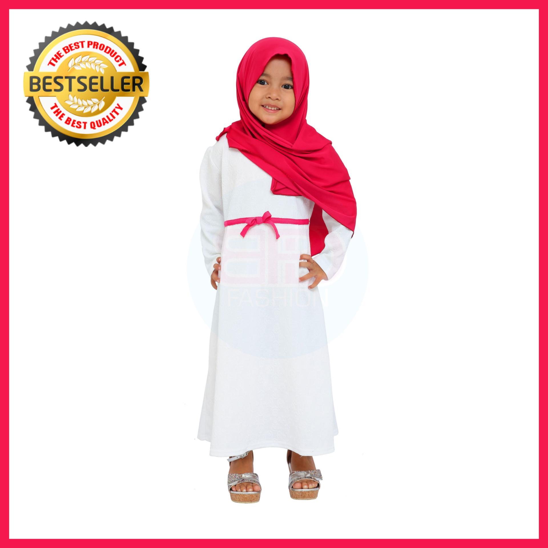 BPD Baju Muslim Gamis Dress Anak Perempuan Cewek Putih Bahan Premium + PASTAN PINK