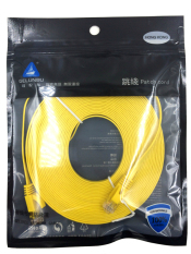 Merek 0.5 M Kabel Aurum Flat CAT6 Flat UTP Ethernet Kabel Jaringan RJ45 Patch LAN Kabel/Ethernet Kabel Logam Crystal Kepala Kuning-Intl