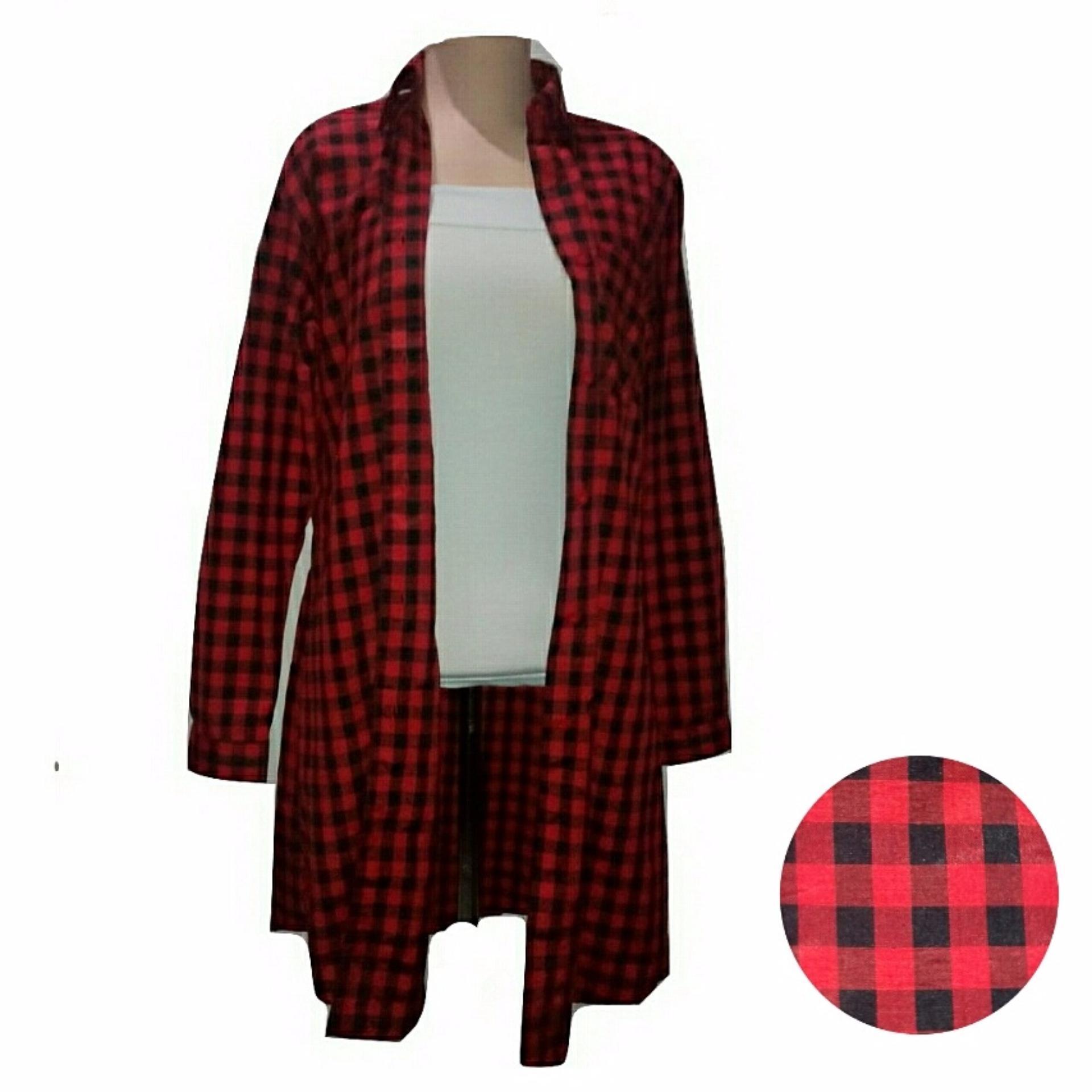 Harga Bratajaya Arty Tartan Long Shirt Kemeja Panjang Baju Wanitatunik Wanita Kotak Kotak Merah Bratajaya Online