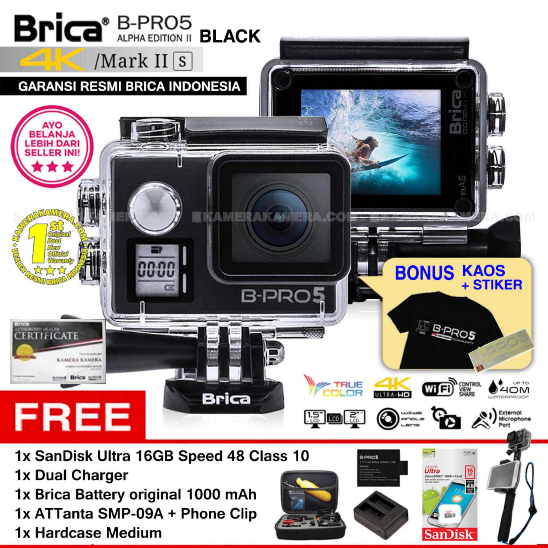 BRICA B-PRO 5 Alpha Edition Mark IIs (AE2s) WIFI 4K BLACK + ATTanta SMP-09A + Phone Clip + Battery Brica 1000mAh + Dual Charger + SanDisk 16GB Class 10 + Hardcase Medium + Kaos Brica + Sticker BPRO5