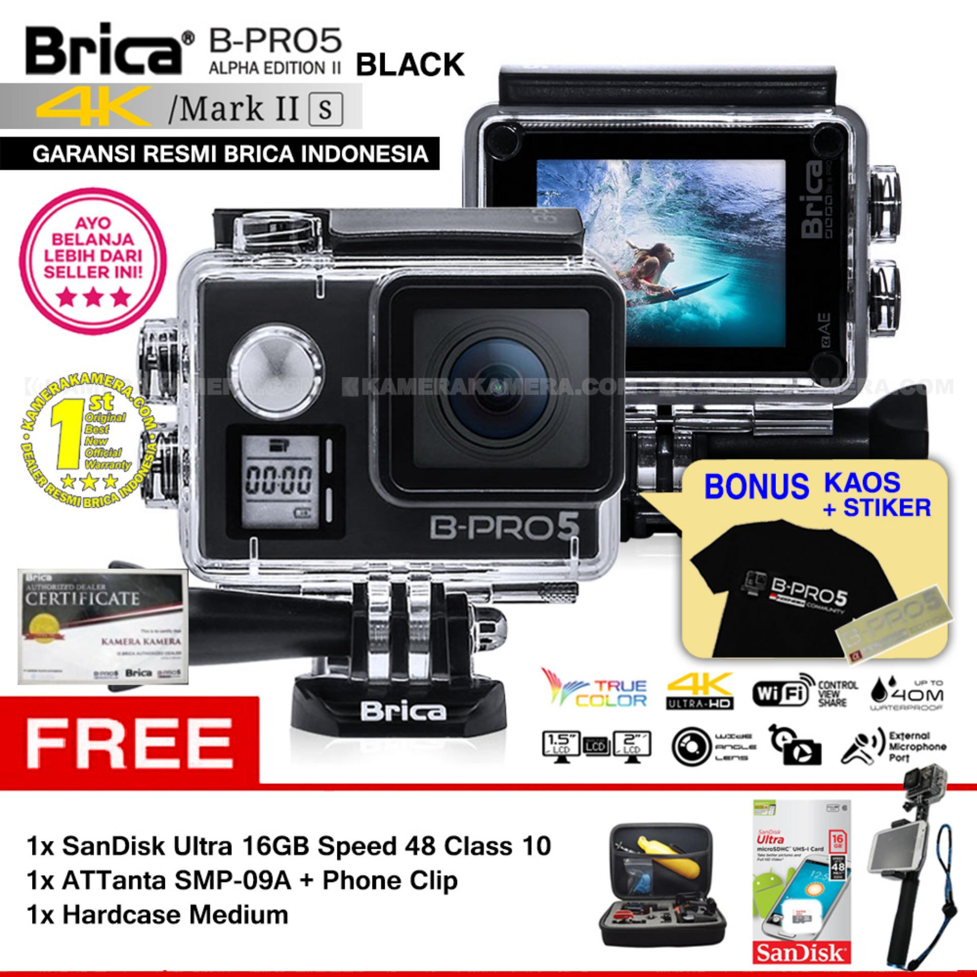 BRICA B-PRO 5 Alpha Edition Mark IIs (AE2s) WIFI 4K BLACK + ATTanta SMP-09A + Phone Clip + SanDisk 16GB Class 10 + Hardcase Medium + Kaos Brica + Sticker BPRO5