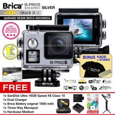 BRICA B-PRO 5 Alpha Edition Mark IIs (AE2s) WIFI 4K SILVER + 3 Way Monopod + Battery Brica 1000mAh + Dual Charger + SanDisk 16GB Class 10 + Hardcase Medium + Kaos Brica + Sticker BPRO5