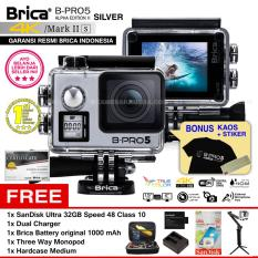 BRICA B-PRO 5 Alpha Edition Mark IIs (AE2s) WIFI 4K SILVER + 3 Way Monopod + Battery Brica 1000mAh + Dual Charger + SanDisk 32GB Class 10 + Hardcase Medium + Kaos Brica + Sticker BPRO5