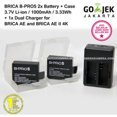 BRICA B-PRO5 3.7V Li-ion battery 1000mAh 3.33Wh (2) + Protection Battery Case + Dual Charger for BRICA AE and BRICA AE II 4K