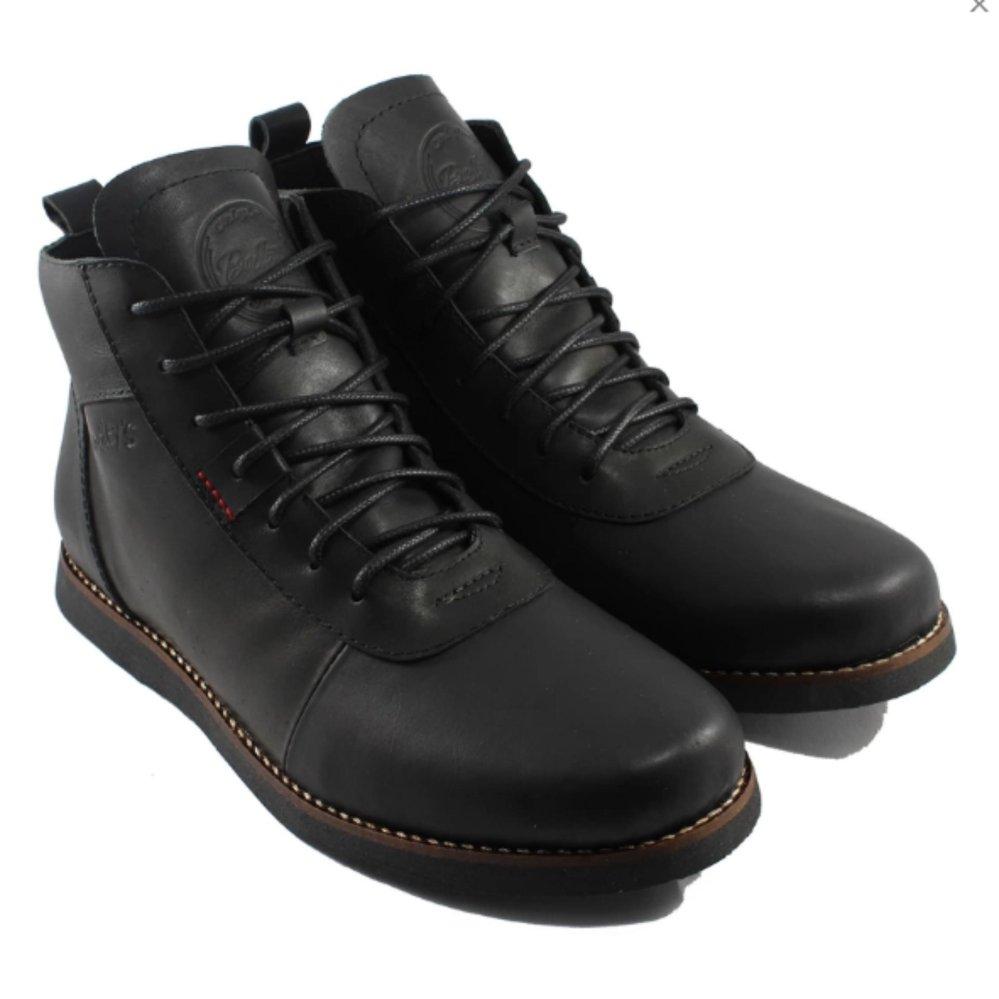 Brodo Bradleys Brodo Sepatu Boots Pria Dan Wanita Kulit Asli Black