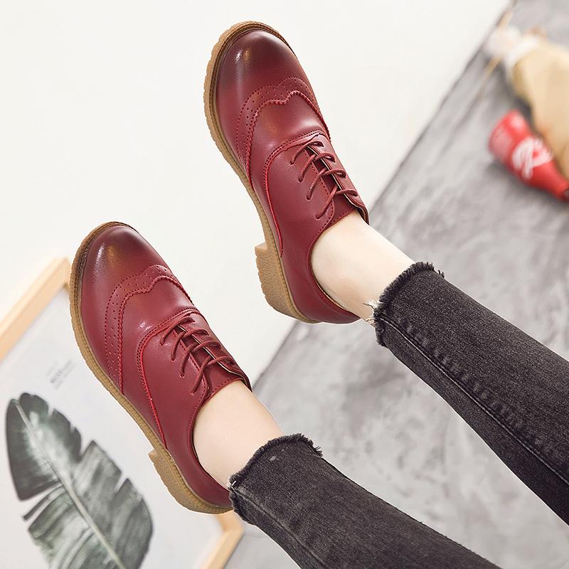 Harga Bullock Versi Korea Perempuan Musim Semi Dan Musim Gugur Putaran Sepatu Kulit Kecil Sepatu Tunggal Anggur Merah Baru
