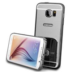 Bumper For Samsung S6 2 in 1 Slide Mirror Backcase Metal Case Cover Aluminium Hardcase Casing Softc