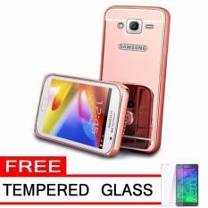 Bumper Mirror Samsung Galaxy G530 Grand Prime / Back Case Samsung G530 Alumunium Metal Sliding Hardcase G530 + FREE Temper Glass - Rose Gold