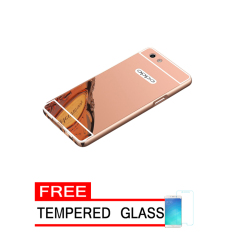 Bumper Mirror Untuk Oppo A57 - Rose Gold - Free Tempered Glass