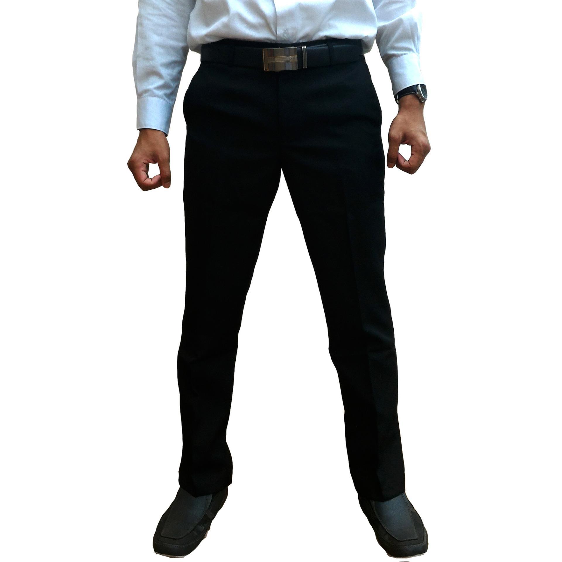 Dapatkan Segera Bunda Wulan Celana Bahan Kerja Pria Slim Fit Hitam