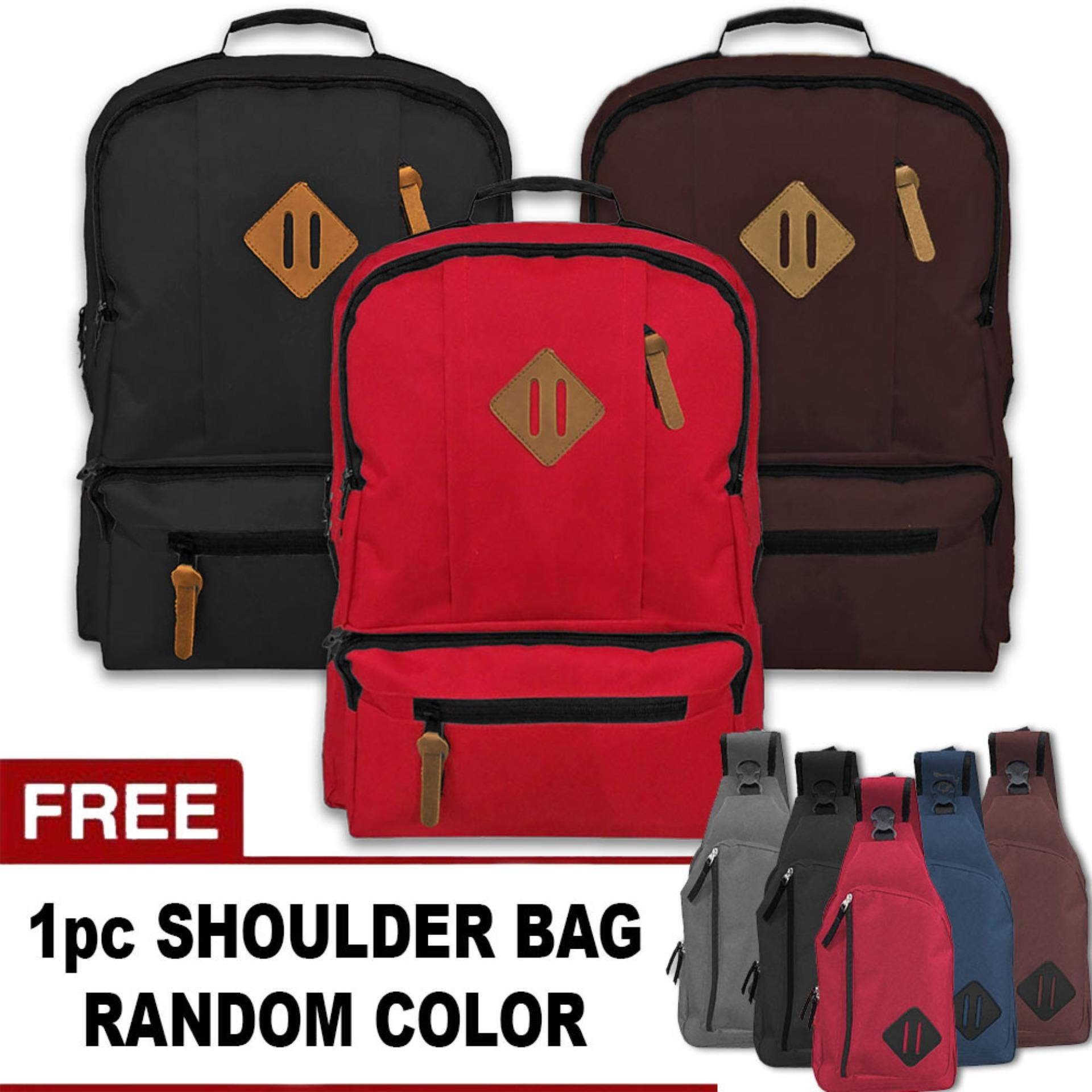 BUNDLE - 1 Swedia Laptop Backpack Up To 13 Inchi + FREE 1 Pentagon Shoulder Bag Random  / Tas Ransel / Tas Laptop / Tas Pria / Tas Wanita / Tas Sekolah / Tas Punggung